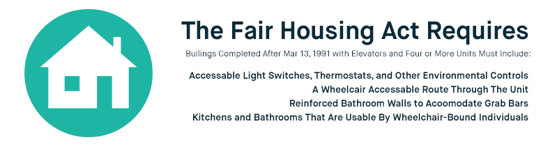 Fair House Act Requirements: Buildings completed after March 13, 1991 with elevators and 4+ units must include accessible light switches, thermostats, a wheelchair accessible route through the unit, reinforced bathroom walls to accommodate grab bars, and kitchens & bathrooms that are wheelchair-accessible